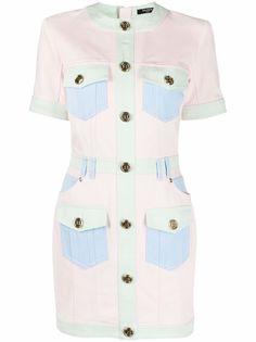 Balmain джинсовое платье с короткими рукавами и вставками