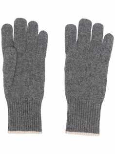 Brunello Cucinelli кашемировые перчатки в рубчик