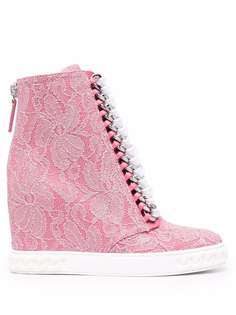 Casadei lace-detail wedge boots