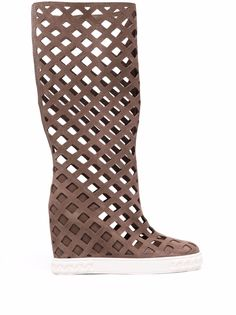 Casadei leather wedge boots