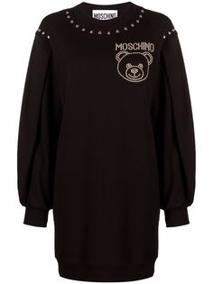 Moschino платье-свитер с узором Teddy Bear