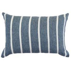 Чехол на подушку декоративный в полоску темно-синего цвета из коллекции Essential, 40х60 см Tkano