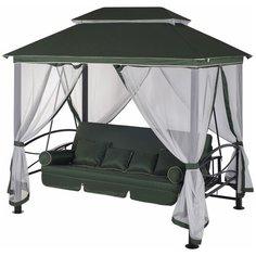 Садовые качели 4-местные с москитной сеткой Удачная мебель Пальмира зеленый