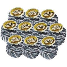 Пряжа Adelia Emma секционного окрашивания, 20 % шерсть, 80 % акрил, 50 г, 50 м, 10 шт., №09 т.серый-св.серый
