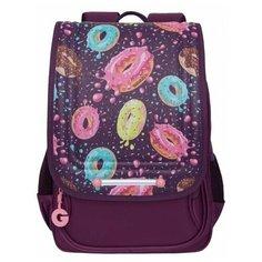 Ранец школьный Grizzly RAk-090-3, для девочек, принт Пончики, фиолетовый