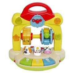 Разивающая игрушка для малышей Погремушка-барабан Zhorya, на батарейках, свет, звук, русское озвучивание.