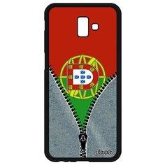 "Чехол на смартфон Galaxy J6 Plus 2018, ""Флаг Португалии на молнии"" Патриот Туризм Utaupia"