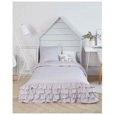 Постельное белье 1.5-спальное Этель Светло-серый графит, мако-сатин, 50 х 70 см, серый