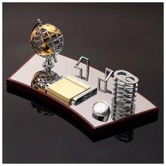 Набор настольный 5в1 (глобус, визитница, блок д/бумаги, карандашница, часы), 19х40 см 3598550 Сима ленд
