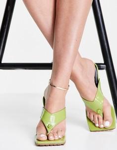 Сандалии лаймового цвета с перемычкой между пальцами Topshop Nala-Зеленый цвет