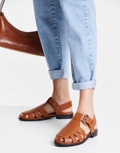 Коричневые туфли на плоской подошве в рыбацком стиле ASOS DESIGN Monika-Коричневый цвет