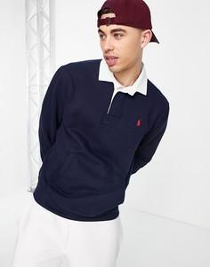 Темно-синий флисовый свитшот в стиле регби с логотипом в виде игрока в поло и карманом Polo Ralph Lauren