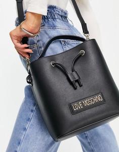 Черная сумка-мешок с логотипом Love Moschino-Розовый цвет
