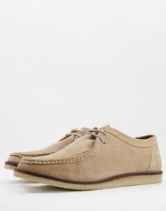 Бежевые замшевые туфли на шнуровке в стиле casual Silver Street-Светло-бежевый цвет