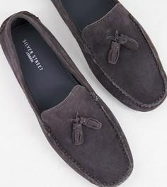 Серые замшевые туфли для широкой стопы с кисточками Silver Street-Серый