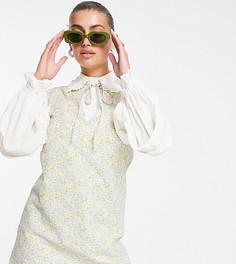 Платье мини с несколькими слоями, воротником и цветочным принтом в стиле ретро Lost Ink-Multi