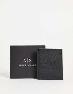 Черная кожаная визитница с тисненым логотипом Armani Exchange-Черный цвет
