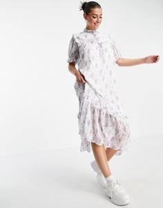 Платье миди с оборками на лифе и винтажным цветочным принтом Lost Ink-Multi