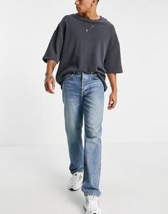 Синие средне-выбеленные джинсы прямого кроя в винтажном стиле ASOS DESIGN-Голубой