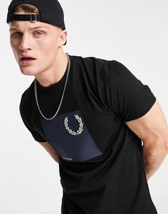 Черная футболка с графическим принтом Fred Perry Laurel Wreath-Черный цвет