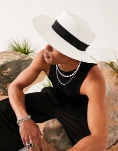 Белая соломенная шляпа с широкими полями, черной лентой и регулятором размера ASOS DESIGN-Белый