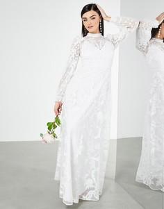Свадебное платье с высоким воротом и вышивкой ASOS EDITION Violet-Белый