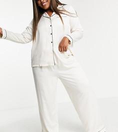 Атласные брюки от пижамы кремового цвета с черной окантовкой Loungeable Plus – Выбирай и Комбинируй-Белый