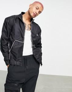 Черная нейлоновая куртка с белыми вставками в ретро стиле Liquor N Poker-Черный цвет