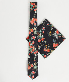 Узкий галстук c цветочным принтом на черном фоне и платок для нагрудного кармана ASOS DESIGN-Черный цвет
