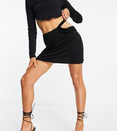 Черная юбка с вырезом на бедре ASYOU-Черный цвет