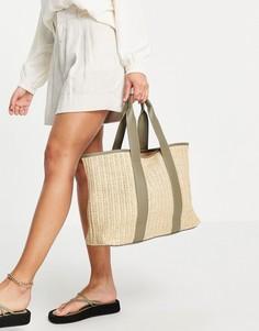 Плетеная пляжная сумка-тоут бежевого цвета с шалфейно-зелеными ручками French Connection-Многоцветный