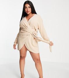 Светло-бежевое льняное платье мини с запахом и акцентной завязкой спереди ASOS DESIGN Curve-Светло-бежевый цвет