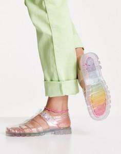 Туфли на плоской подошве из мягкого пластика с радужной расцветкой Juju-Multi