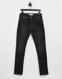Черные эластичные джинсы зауженного кроя из органического хлопка Topman-Черный цвет