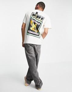 Светло-бежевая футболка с принтом спичек с лисой Crooked Tongues-Светло-бежевый