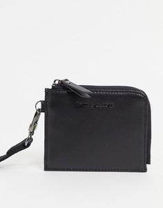 Кожаная кредитница с ремешком через плечо Smith & Canova-Черный цвет