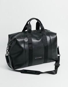 Кожаная спортивная сумка Smith & Canova-Черный цвет