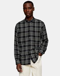 Рубашка с длинными рукавами в черно-серую клетку Topman-Многоцветный