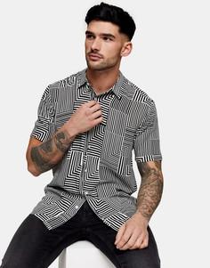 Черная рубашка с короткими рукавами и геометрическим принтом Topman-Многоцветный