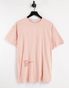 Розовая oversized-футболка с принтом по нижнему краю Topman-Розовый цвет