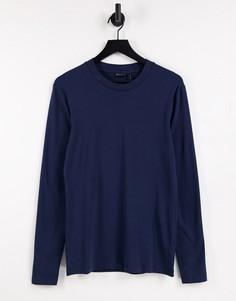 Темно-синяя обтягивающая футболка с длинными рукавами ASOS DESIGN-Темно-синий