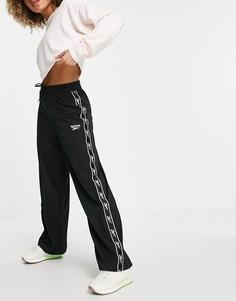 Черные брюки с широкими суженными книзу штанинами с логотипом Reebok-Черный цвет