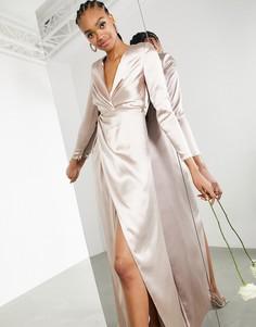 Атласное свадебное платье нежно-розового цвета с глубоким вырезом и запахом ASOS EDITION Sadie-Розовый цвет