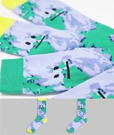 Набор из 2 пар носков до щиколотки с принтом и смайликом ASOS DESIGN-Multi