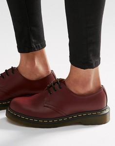 Туфли на плоской подошве с 3 парами люверсов Dr Martens 1461 Gibson-Красный