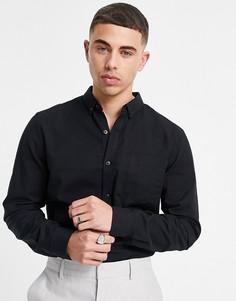 Черная оксфордская рубашка из органического хлопка с длинными рукавами New Look-Черный цвет