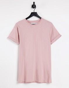 Розовая футболка скинни с отворотами на рукавах Topman-Розовый цвет
