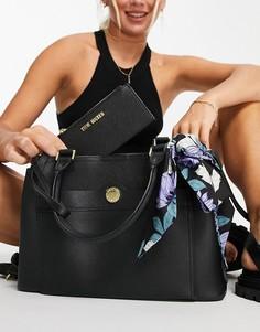 Черная сумка-портфель с визитницей Steve Madden Beijing-Черный цвет