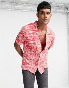 Розовая рубашка с короткими рукавами, отложным воротником и волнистым принтом Levis Cubano-Розовый цвет Levis®
