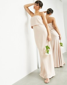 Атласное платье-бандо макси карамельного цвета ASOS EDITION-Светло-бежевый